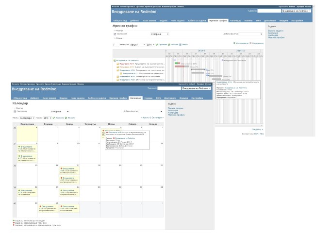 Gantt charts and calendar in Redmine